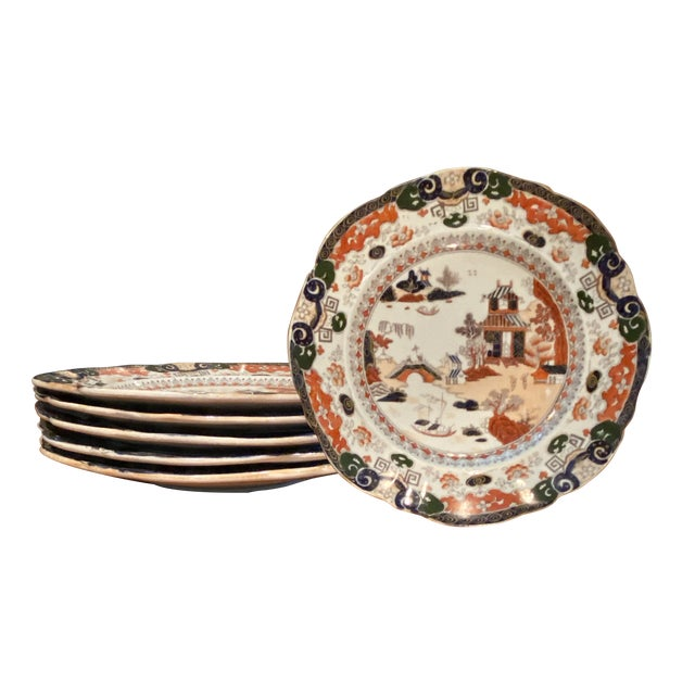 Antique Mason's Ironstone Chinoiserie Luncheon or Dinner Plates — Set of 6 For Sale - Image 11 of 11