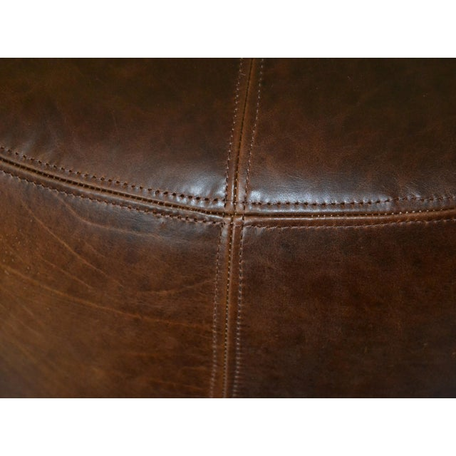 Modern Round Hand-Crafted Leather Ottoman, Pouf in Antique Leather, Contemporary For Sale - Image 9 of 13