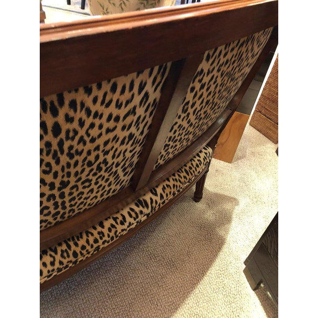 1960s Louis XIV Carved Walnut and Faux Leopard Loveseat Settee For Sale - Image 5 of 8