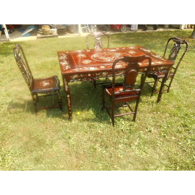 Mother of Pearl Inlay Asian Dining Set - Image 3 of 11