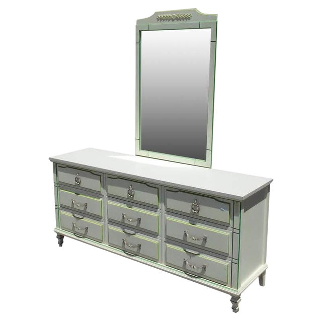 Morris of California 9 Drawer Dresser Cabinet and Mirror For Sale