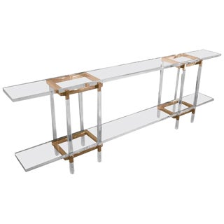 """Charles Hollis Jones """"Metric"""" Console Table in Lucite and Brass For Sale"""