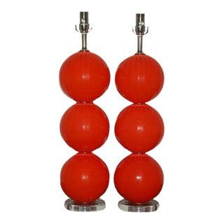 Joe Cariati Glass Ball Table Lamps Orange Red For Sale