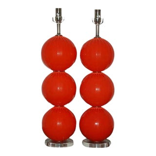Joe Cariati Hand Blown Glass Ball Table Lamps Orange Red For Sale
