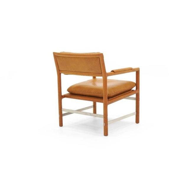 Dunbar Furniture Leather, Mahogany and Steel Armchair by Edward Wormley for Dunbar For Sale - Image 4 of 10