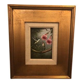 1980s Bird Framed Oil on Panel Painting For Sale