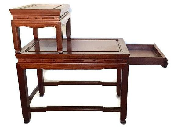 George Zee Mid Century Modern Chinese Rosewood Side Tables Stacking  Chinoiserie Stands   A PAIR For