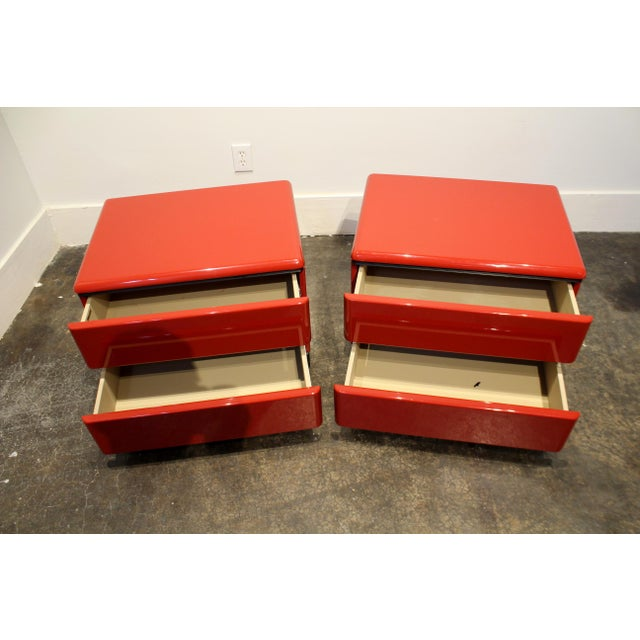 80s Modern Cherry Red Lacquered Nightstands by Roger Rougier For Sale In Dallas - Image 6 of 11