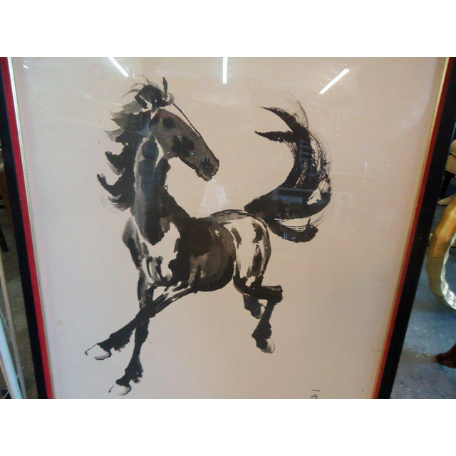 Japanese Equestrian Ink Horse Painting - Image 5 of 7