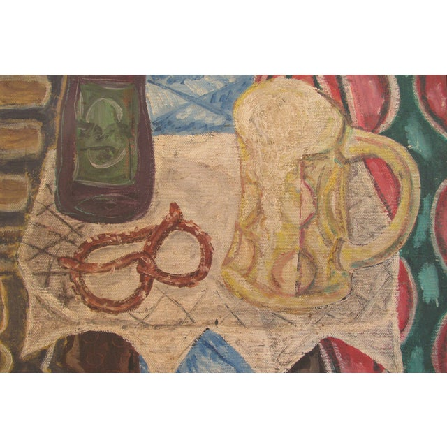 Vintage Painting of Pretzel and Beer Mug - Image 3 of 6