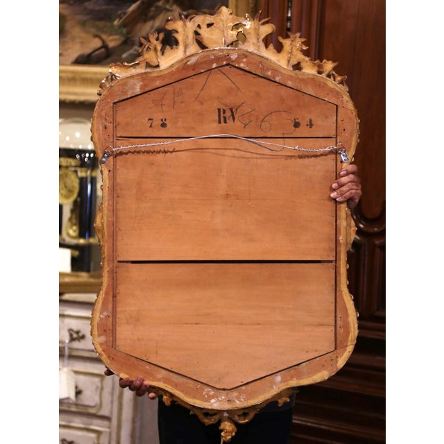 19th Century French Louis XV Carved Giltwood and Beveled Wall Mirror For Sale In Dallas - Image 6 of 7