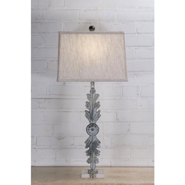 Leaf Iron Table Lamp With Acrylic Base and Linen Shade For Sale - Image 6 of 6