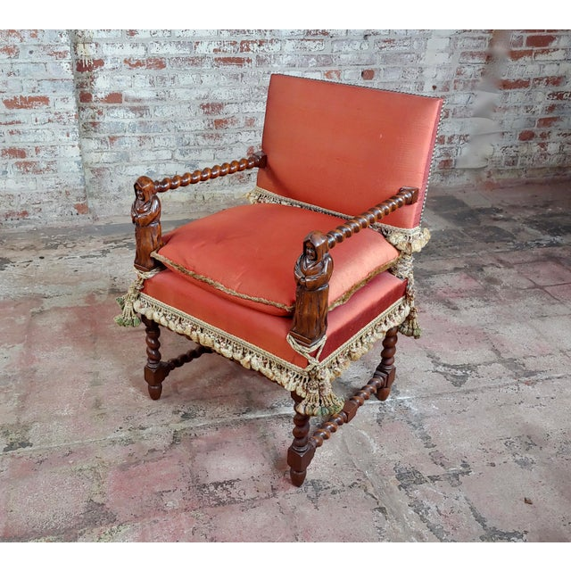 Red 19th Century Baroque Red Upholstered Walnut Hall Chair For Sale - Image 8 of 8