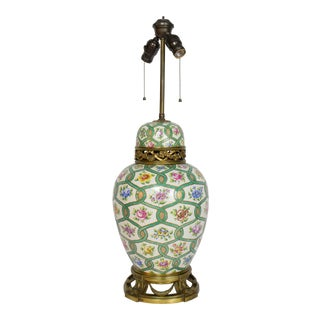 Restored Antique Green and White Chintz Table Lamp For Sale