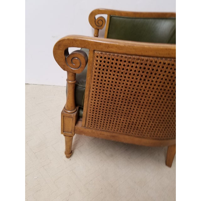 Neoclassical Style Olive Green Leather and Cane Fruitwood Armchair by Lexington Furniture - Image 4 of 7