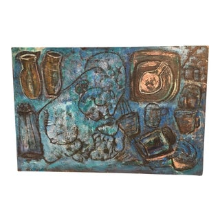 Abstract Blue Figural Painting For Sale