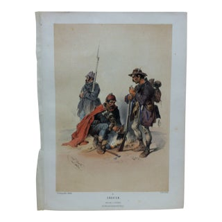 "Mid 19th Century Antique ""Croaten No. 3"" Josef Heicke Hand-Colored Print For Sale"