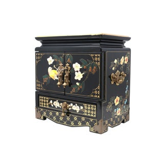 Vintage Lacquered Asian Jewelry Box With Brass Trim For Sale