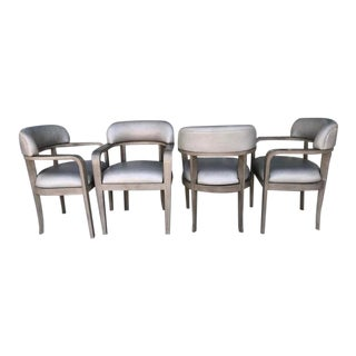 Set of 4 Steve Chase Mid Century Modern Greige Leather Barrel Chairs For Sale