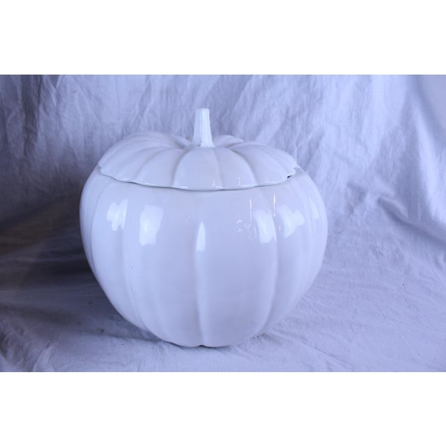 Oversized white pottery pumpkin that can be used for anything this Fall season - planter, cookie jar, or serving dish...