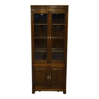 """Stickley Furniture Solid Walnut Traditional Style 32"""" Illuminated Bookcase For Sale"""