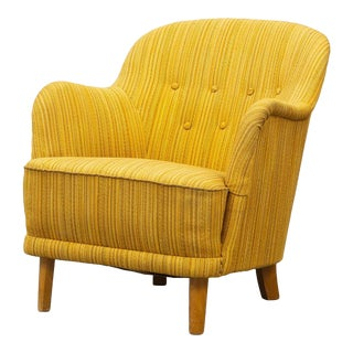 Mid Century Vintage Scandinavian Yellow Accent Easy Chair For Sale