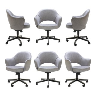 Saarinen Executive Arm Chairs in Sterling Weave, Swivel Base, Set of 6