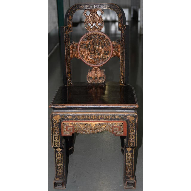 19th Century Carved & Painted Chinese Side Chair For Sale - Image 13 of 13