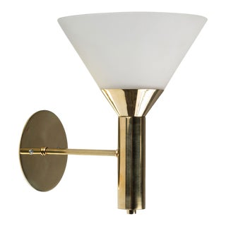 1950s Italian Glass and Brass Cone Sconces For Sale