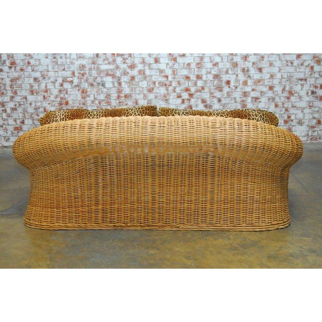 Brown Michael Taylor Inspired Wicker Sofa Scalamandre Style Leopard Upholstery For Sale - Image 8 of 10