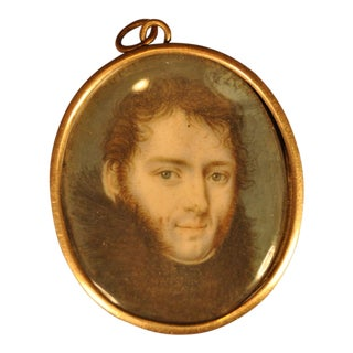 19th Century Miniature Portrait of a Young Man With Fur Collar For Sale