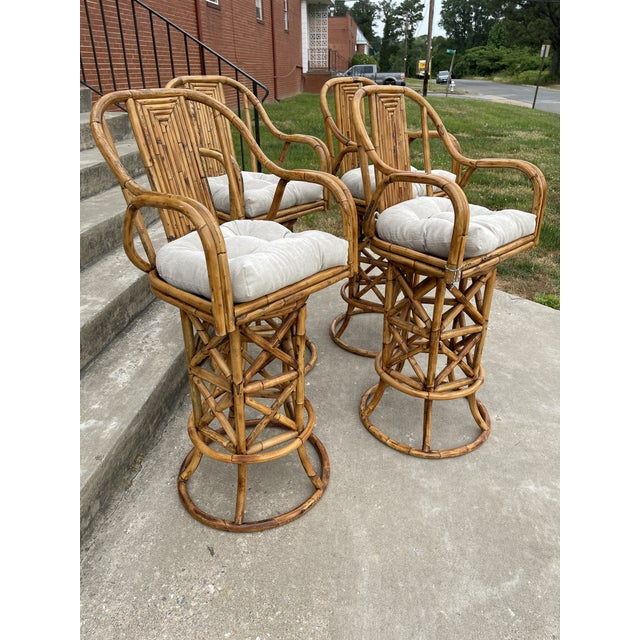 Chinoiserie Burnt Bamboo Barstools - Set/4 For Sale - Image 3 of 8
