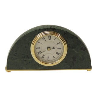 Green Marble Desk Clock For Sale