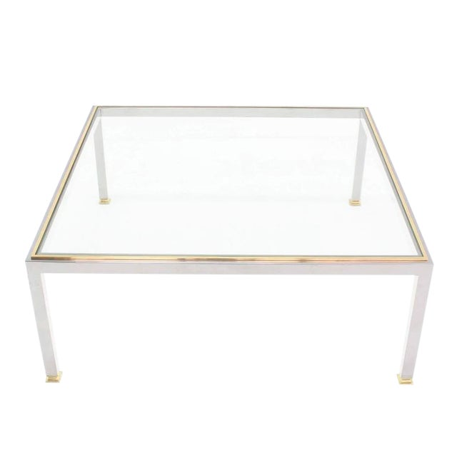 Large Square Chrome and Brass Mid-Century Modern Coffee Table For Sale