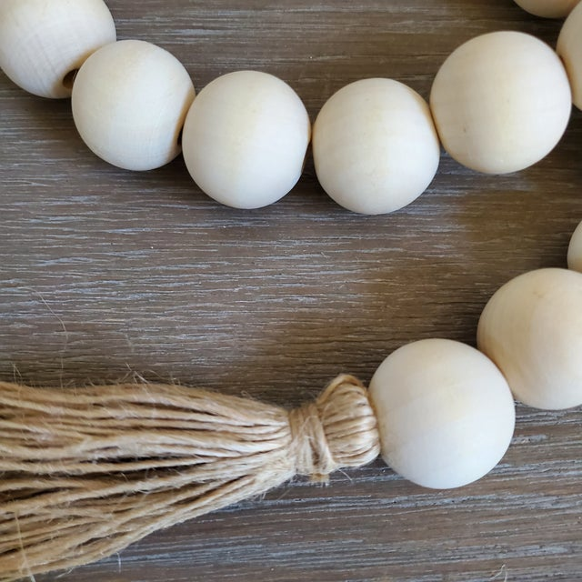 Farmhouse Natural Wood Bead Garland W/ Jute Tassels For Sale - Image 3 of 4