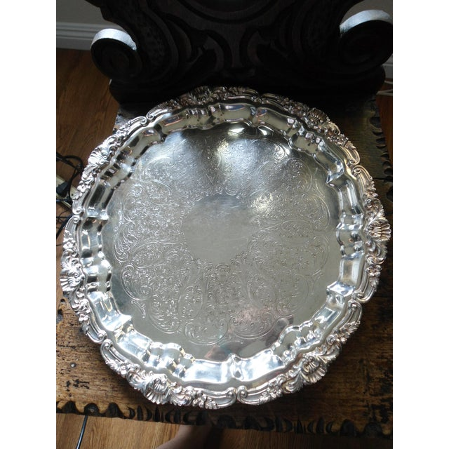 Vintage 1970s Silver Plate Serving Tray For Sale In Los Angeles - Image 6 of 6