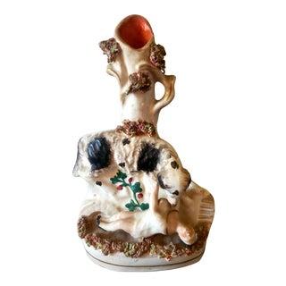 Antique Staffordshire Girl/Dog Spill Vase Bocage For Sale