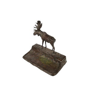 Bronze Moose Sculpture Inkwell For Sale