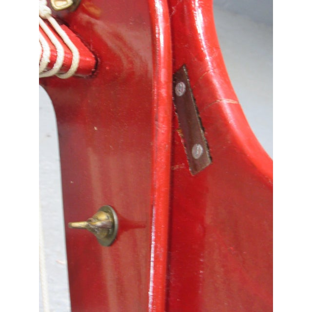 Red 1950's Mid Century Modern Red Painted Wood and Rope Scissor Chair For Sale - Image 8 of 10