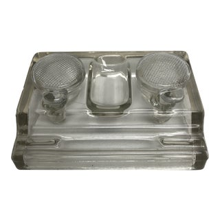 Early 20th Century Vintage English Glass Double Inkwell For Sale