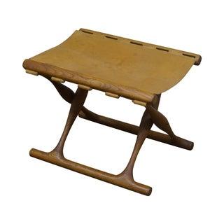 Poul Hundevad 1960s Teak & Leather X Base Stool For Sale