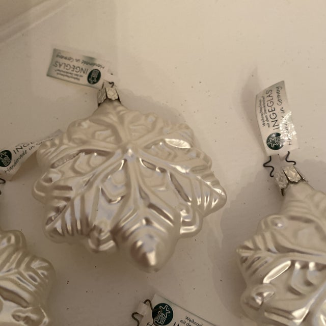 Glass Inge Glass Snowflake Ornaments - Set of 6 For Sale - Image 7 of 13