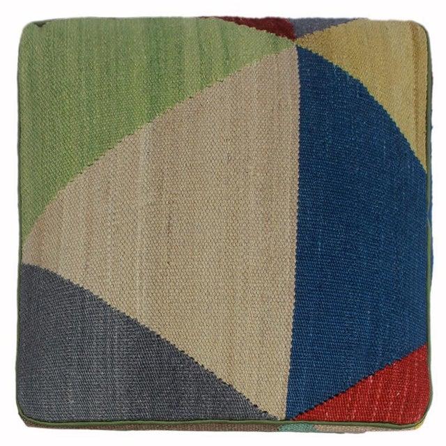 2010s Arshs Deanne Ivory/Red Kilim Upholstered Handmade Ottoman For Sale - Image 5 of 8
