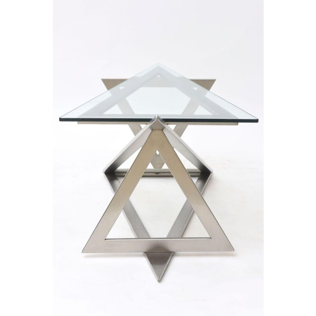 Giovanni Offredi Italian Modern Stainless Steel and Glass Table Attributed to Giovanni Offredi For Sale - Image 4 of 10