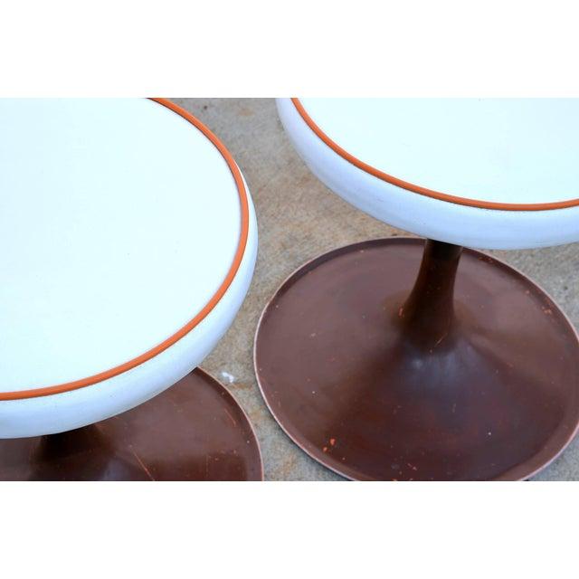 Eero Saarinen Thinline Cast Aluminum Upholstered Swiveling Stools - a Pair For Sale - Image 4 of 6