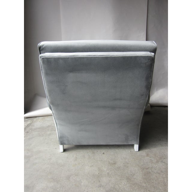 Large Grey Velvet Lounge Chair - Image 4 of 4
