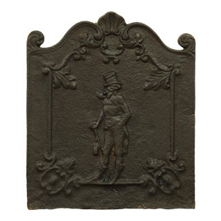 "Antique Decorative Fireback Displaying a Man With a ""Top Hat"" For Sale"
