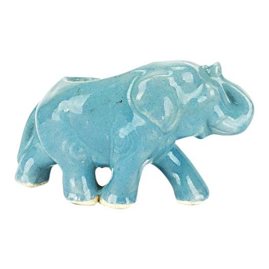 Vintage Blue Ceramic Elephant Planter - Image 1 of 6