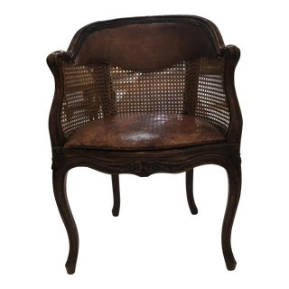 """French 18th Century Caned Walnut """" Fauteuil De Bureau"""" With Floating Leather Seat - Single For Sale"""
