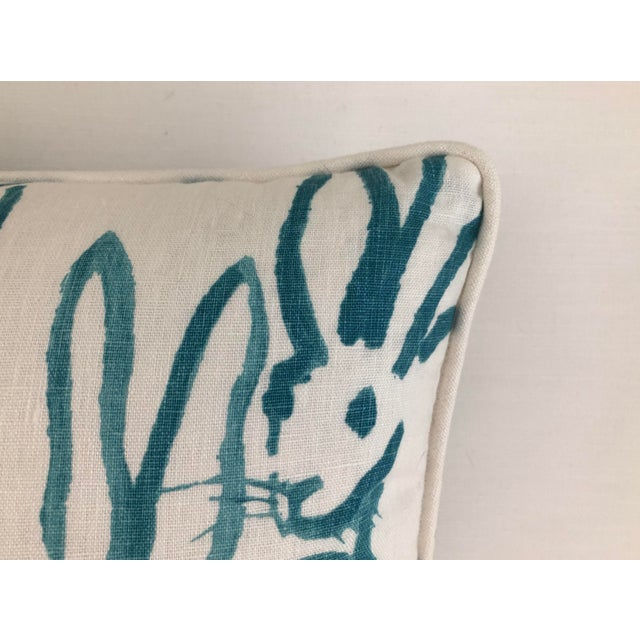 Hunt Slonem Lee Jofa Bunny Hutch Print in Turquoise Pillow Cover With Piping, Double Sided For Sale - Image 4 of 6
